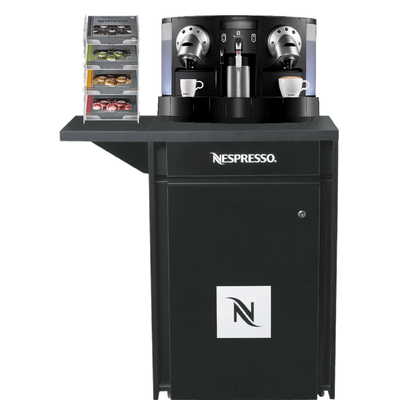 A robust and yet elegant machine table from Nespresso Professional